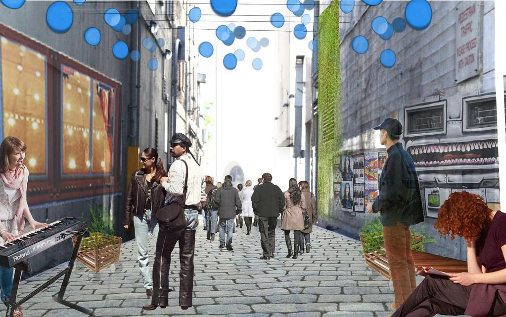 RECOMMENDATIONS RECOMMENDATIONS High Density Mixed Use Alley ALLEY TYPES : SEATTLE CASES 24 This downtown alley is situated next to a large public square and borders several businesses, office space,