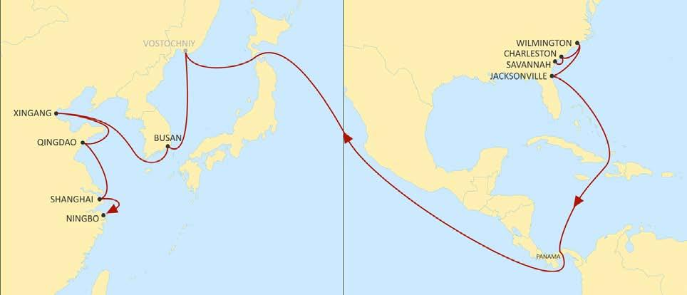 USA EAST COAST TO ASIA AMBERJACK WESTBOUND Fast transit times from the South Atlantic to South Korea, North and Central China.