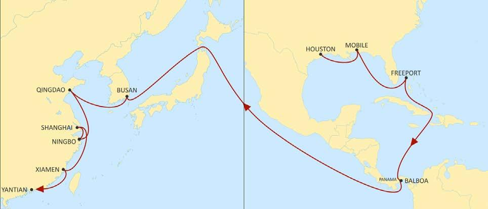 USA EAST COAST TO ASIA LONE STAR EXPRESS WESTBOUND Gateway from US Gulf to Asia POL POD BUSAN QINGDAO NINGBO SHANGHAI XIAMEN YANTIAN Direct connections from Houston, Mobile.