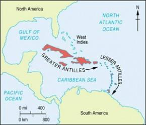 The Antilles extend from Venezuela to Florida.