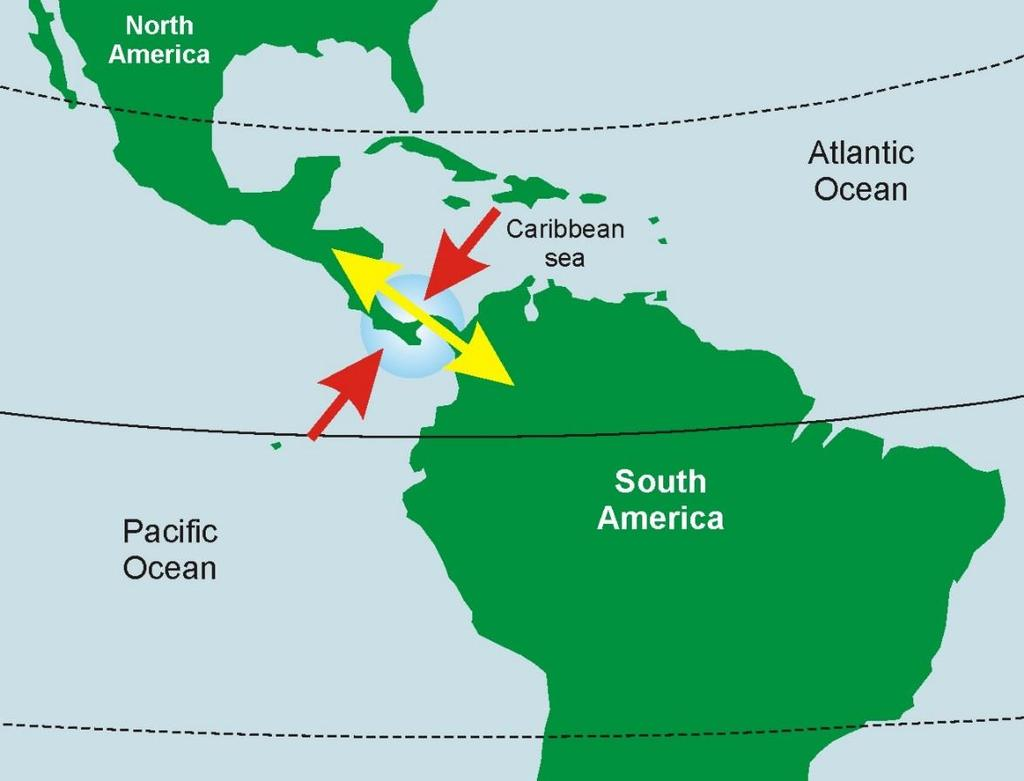 Physical Geography Landforms Central America is an Isthmus (a narrow strip of land connecting two larger land areas, usually with water on either side.