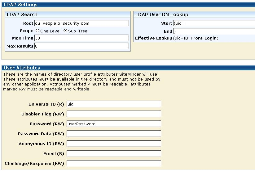 Enter the LDAP Settings and the User