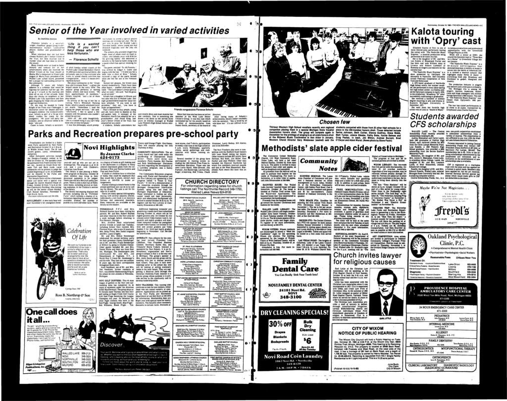 4-C-THE NOV-WALLEDLAKE NEWS-Wednesaay. Oclobbf l9, 1983 Senior of the Year involved in varied activities By SANDRA ZGOUA Florence Schultz i.s j seitfiary. singer, diauffeur. gospel troup le:ider.