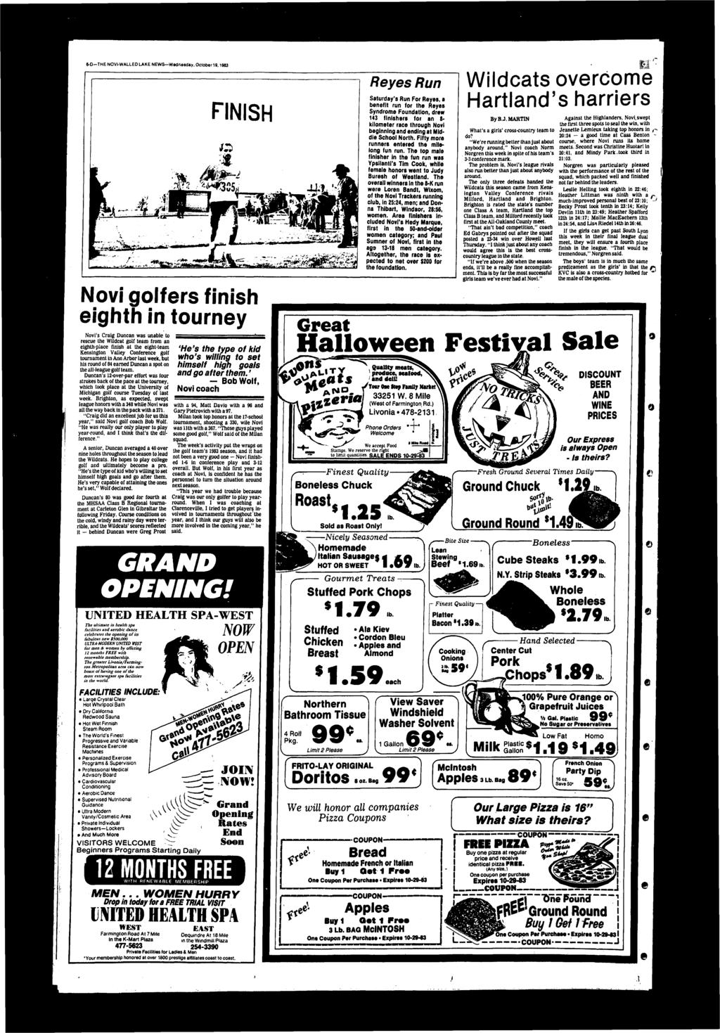 &-D-THE NOV-WALLED LAKE NEWS-W«dnesdBy, October 19,1983 FNSH Novi golfers finish eiglith in tourney Novi's Craig Duncan was unable to rescue the Wildcat golf team from an eighth-place finish at the