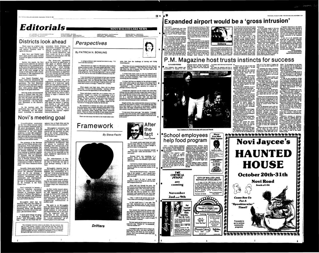 '2-A-THF. NOV-WALLEDLAKE NEWS-Wadnesday, October 19,19&3 Wednesday. Octol)er19.198a-THE NOV-WALLEDLAKE NEWS-13-A Expanded airport would be a 'gross intrusion' Editorials JAO.