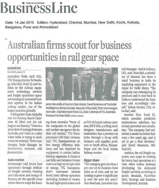 Australian Business Week in India 2015 Rail Sector Program Over 20 Australian delegates 5-day program in 3 cities Meetings with top officials and executives - Indian Railways