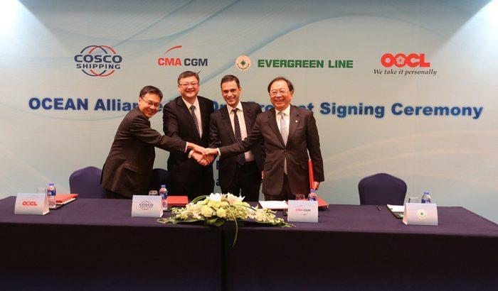 Ocean Alliance unveils network for 2017 Signing the Day One Product were (left to right) Ocean Alliance members Andy Tung, CEO of OOCL, Wang Haimin, managing director of China Cosco Shipping Lines,