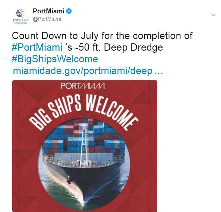 Tactics Social Media The social media approach was a multi-media effort to engage followers in the campaign by registering the hashtags #PortMiami and #BigShipsWelcome and extending our reach by