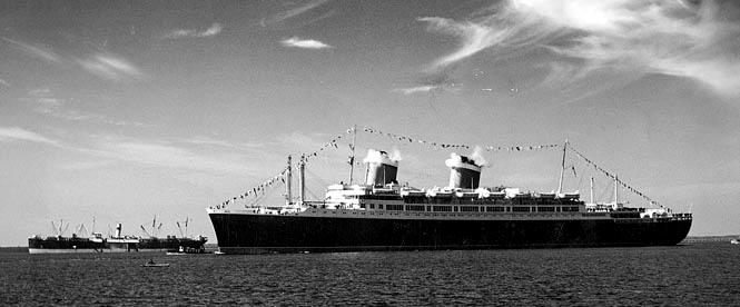 When she left Newport News in November of 1946, hundreds of shipyard employees paused to watch her leave, and were rewarded by a departing salute from her twin steam whistles.