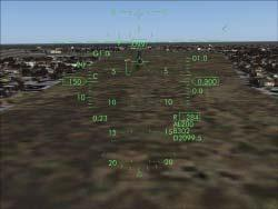 Landing with the HUD When the landing gear is extended, the HUD automatically switches to the landing mode.