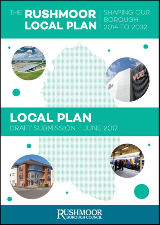 New Rushmoor Local Plan One document (single) Local Plan, to cover the period 2014-2032 Will