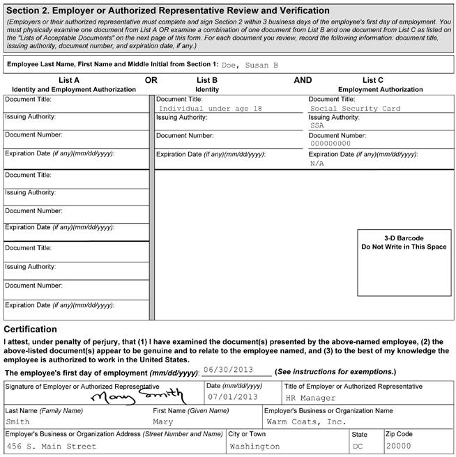 1 2 3 4 5 Figure 4: Completing Section 2 of Form I-9 for Minors without List B Documents 1 2 3 4 5 Enter the employee s name from Section 1 at the top of Section 2.