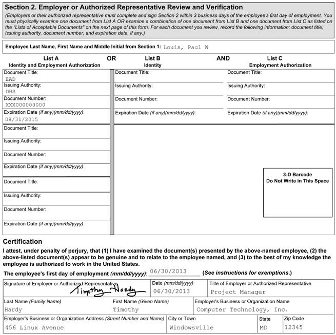 1 2 3 4 5 Figure 10: Completing Section 2 of Form I-9 for F-1 Nonimmigrant Students with OPT 1 2 3 4 5 Enter the student s name from Section 1 at the top of Section 2.