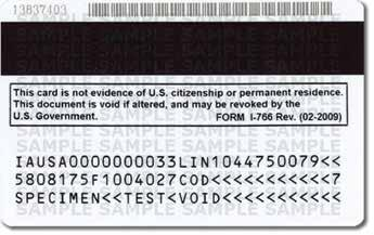 The card contains the bearer s photograph, fingerprint, card number, Alien number, birth date, and signature, along with a