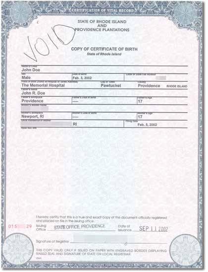 Certification of Report of Birth Issued by the U.S.