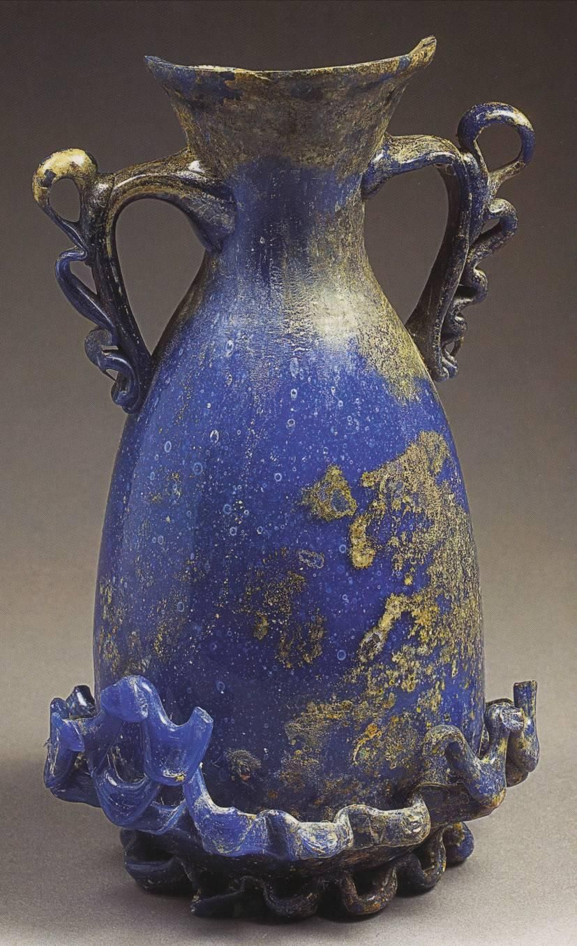 Blue vase with openwork trailing