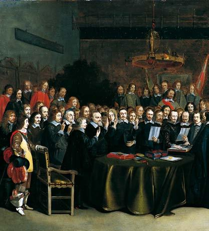 After five years of negotiations the peace agreements were signed in 1648. On 15 May the Spanish-Dutch Treaty was agreed in the Friedenssaal in the Town Hall of Münster, so named after that event.