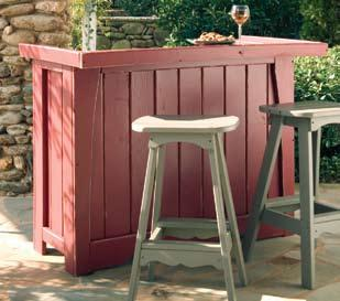 5060-041 Outdoor Bar in Rustic Red (inside view) 5062-041 Outdoor Bar Stool w/back in Rustic Red Cover
