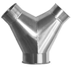 K&B Duct Clamp Together Duct Y-Branches B C C E A All fittings have slip fit capability in the collar. See page 3. A Galvanized and Stainless Steel 30 or 45 C C E 4-12 8.5 13-18 11.5 19 up 14.5 Dia.