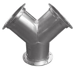 "K&B Duct Flanged Duct Y-Branches - Flanged Part # Part # Dia 30 deg 45 deg GA See note for sizes under 24"". 24"" 24224.3 24224.45 18 26"" 24226.3 24226.45 18 28"" 24228.3 24228.45 18 30"" 24230.3 24230."