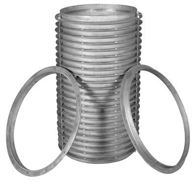 Connectors - Flanged Duct Stock Angle Rings - Pressed and Rolled Steel Kirk & Blum stock angle rings through 14 diameter are press formed. Angle rings above 14 diameter are roll formed and welded.