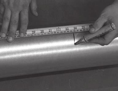"Measure the length needed for adjustment. Step 2. Take a standard 5' section of appropriate diameter duct. Mark the duct slightly shorter (3""-4"") than the length needed."
