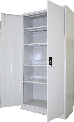 Item B-1.14 Cupboards - Office Metallic sheet cupboard for office use. 1) Sturdy stainless steel epoxy coated frame of at least 14 gauge as per example below. 2) Two doors.
