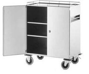 Item B-1.29 Trolley, decontamination Cabinet trolley for transporting containers and material between contamined and clean rooms to and from the sterilization centers.