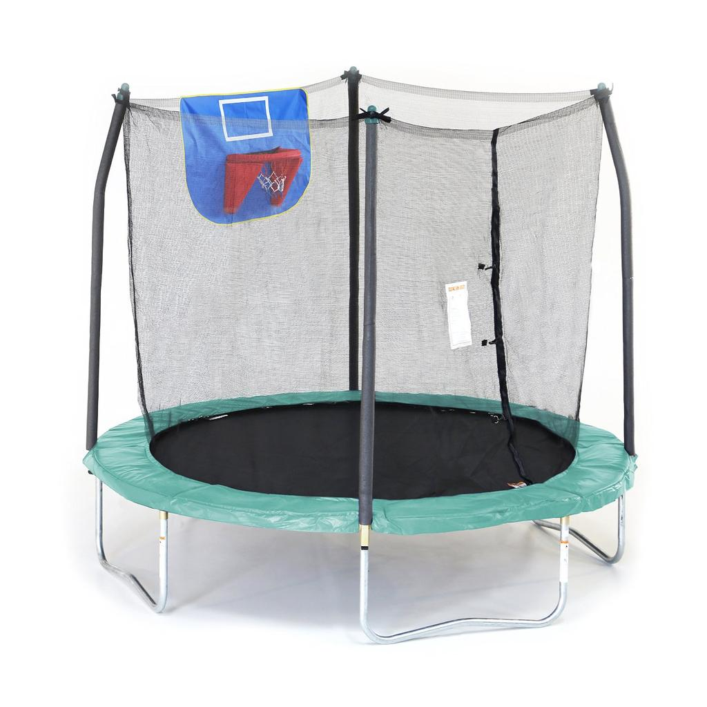 Skywalker Trampolines Jump N' Dunk Trampoline with Safety Enclosure and Basketball Hoop 8 Feet. Available in Blue, Green and Pink. $550.00 delivered with $150.00 extra charge for assembly, if needed.