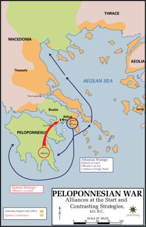 Peloponnesian War 431 BC to 404 BC Named after the peninsula that Sparta was located on (Peloponnese) Athens vs.
