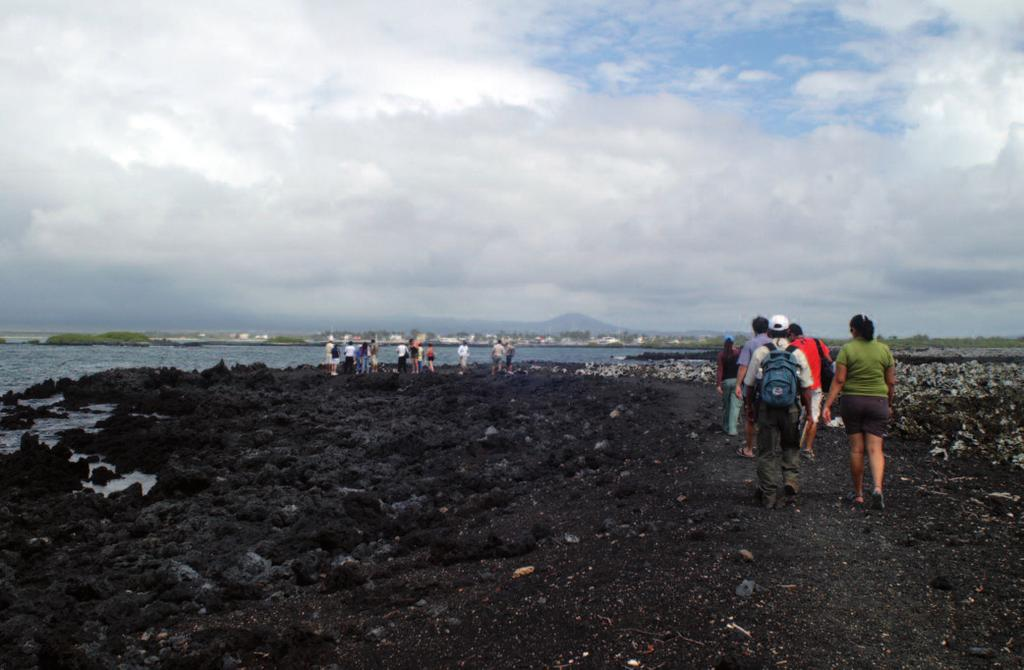 Photo 3. Visitors at the Tintoreras visitor site, Isabela. Photo: Christophe Grenier animals in the towns, especially lava lizards, marine iguanas, and finches.