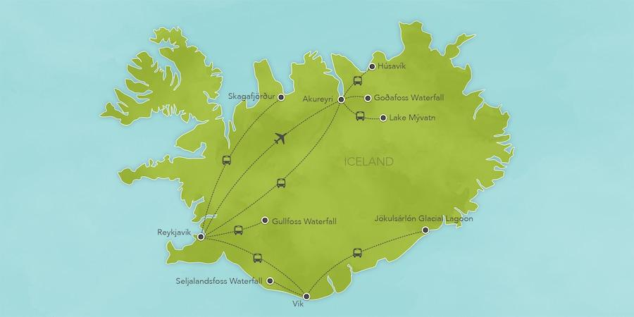 Iceland 8 Days / 7 Nights Immerse yourself in the unparalleled natural beauty of Iceland as you explore its dramatic landscapes and coastline that feature majestic waterfalls, lunar-like
