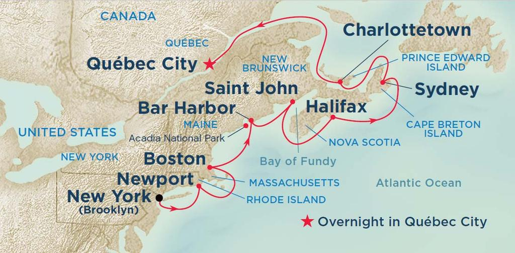 Classic Canada & New England Cruise Ports: New York City (Manhattan or Brooklyn), New York Newport, Rhode Island