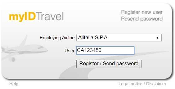 "Select Alitalia S.p.A. from Employing the Airline list. In the field USER insert your corporate registration or retired / former employee, in the format ""CA123450""."