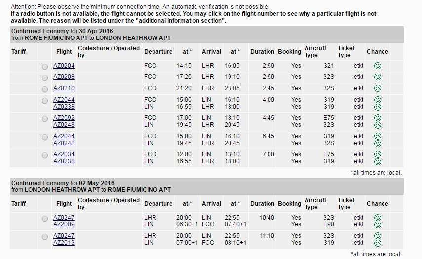 Each flight availability row consists of the following columns: Tariff information indicator Indicates the price level of the first traveler who mostly is the employee himself.