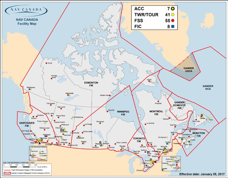 NAV CANADA Facilities Map The following map is current as of the