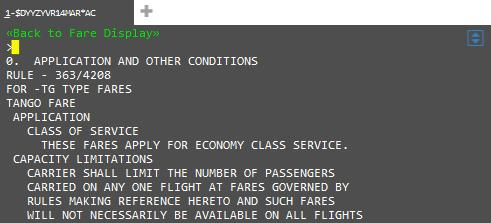Apollo >$DYYZYVR14MAR*AC Galileo >FDYYZYVR14MAR/AC Fare Rules are displayed by line number.