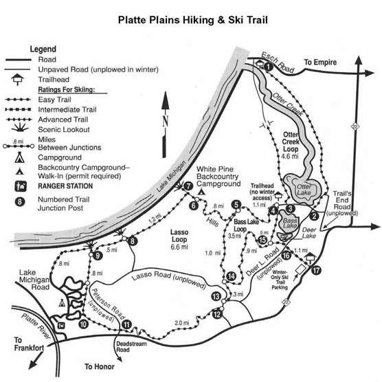 #2 Platte Plains Hiking and Ski Trail Location: There are several trailheads for this large trail system: on the gravel road near the end of Esch Road, the end of Trail s End Road, and Platte River
