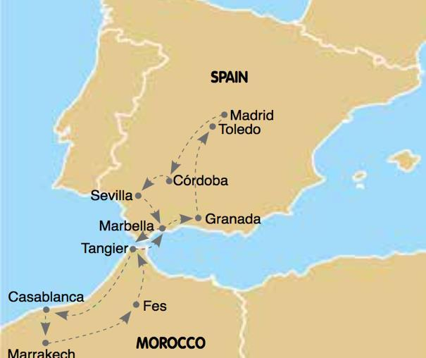 WONDERS OF SPAIN & MOROCCO TOUR DAYS: 12 DAYS /10 NIGHTS TOUR TYPE: VALUE GROUP TOUR DEPARTS: SELECTED TUESDAYS USA/CANADA - MADRID CORDOBA SEVILLA RONDA MARBELLA TANGIER RABAT CASABLANCA MARRAKECH