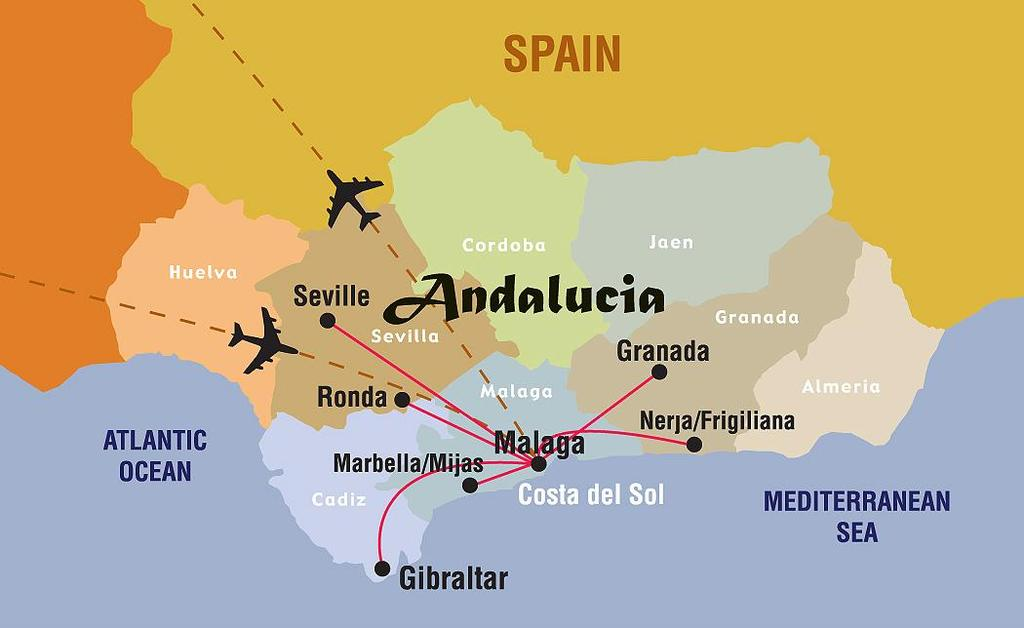 ABOUT COSTA DEL SOL, ANDALUCIA, SPAIN The jewel of historic Spain, Andalucia is the country s largest and most quintessential region.