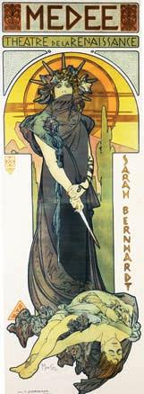 This poster promotes an 1898 production of Euripides Medea, starring the great French actress Sarah Bernhardt.