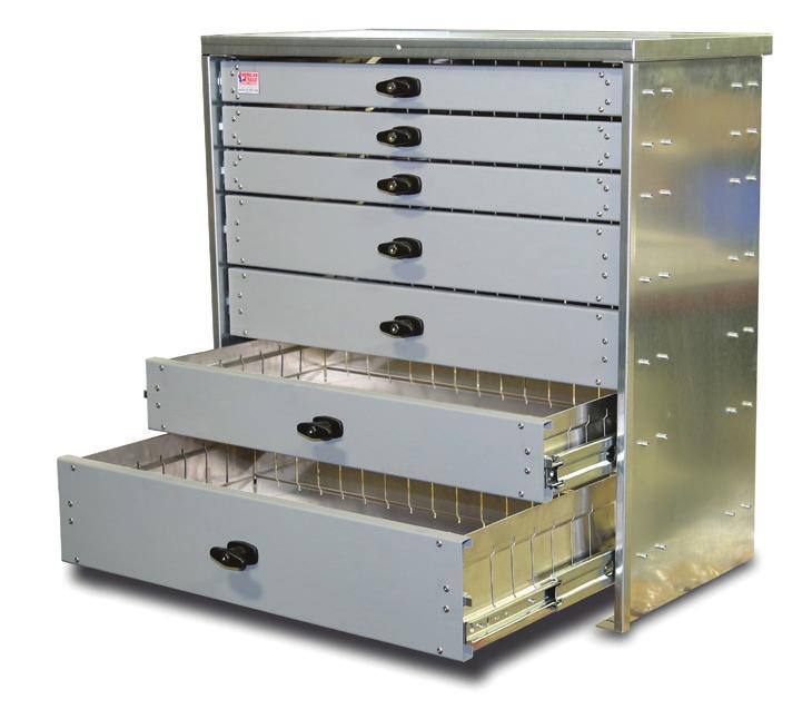 Aluminum Drawers - All drawers are constructed of lightweight aluminum for weight savings and corrosion resistance.