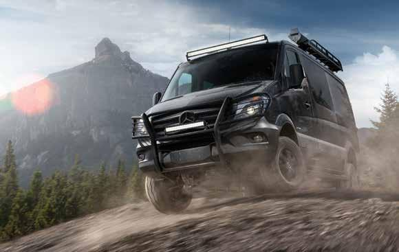 Pave your own way. The Sprinter 4x4. When the pavement stops, the Mercedes-Benz Sprinter 4x4 doesn t. Mud. Gravel. Sand. The Sprinter 4x4 handles it all.