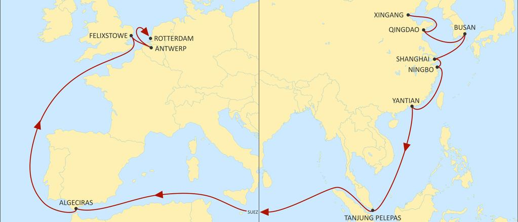 ASIA NORTH EUROPE SWAN WESTBOUND Best product from Central & North China to Felixstowe Great connections from North China and South Korea to Antwerp hub.