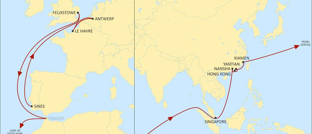 ASIA NORTH EUROPE LION EASTBOUND 2 Direct calls from LEH to Asia, calling directly Singapore for SEA coverage, South China and Hong Kong Full coverage of Scan Baltic, NWC and UK with dedicated feeder