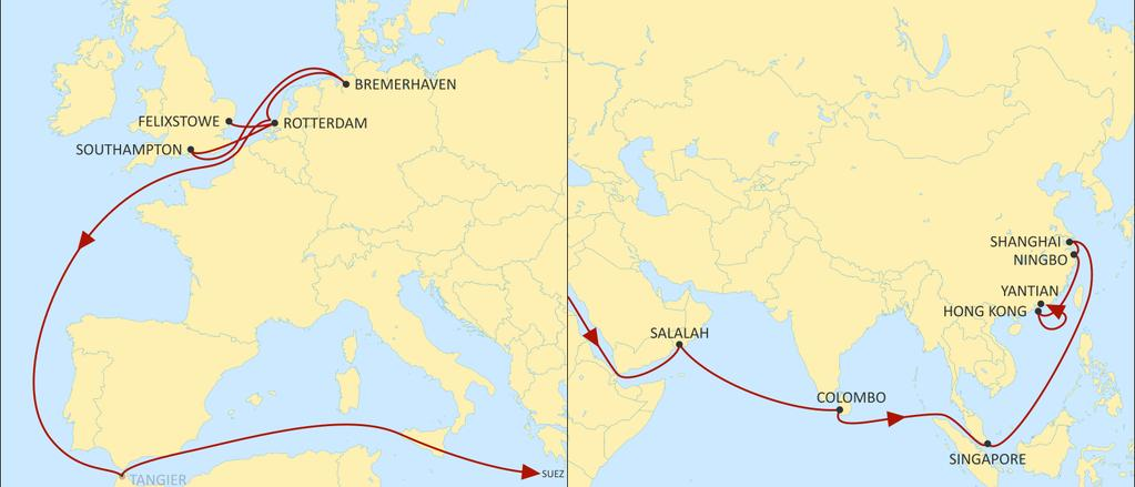 ASIA NORTH EUROPE SHOGUN EASTBOUND 2 main UK calls to Far East Fast transit times to Japan thru our Ningbo main port of discharge for a fast connection thru our Origami Feeder service.