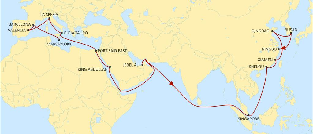 ASIA MEDITERRANEAN JADE EASTBOUND Fast West Mediterranean service to Red Sea, Middle East and Asia, with improved transit times. Excellent reefer service to Middle East. Direct service from Egypt.