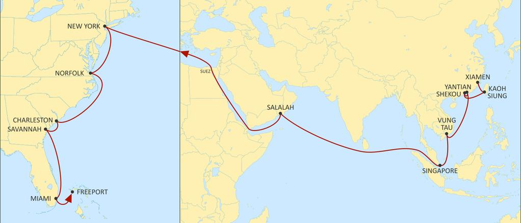 ASIA TO USA EAST COAST AMERICA WESTBOUND South China, Fujian Province, Taiwan and South East Asia connections to the US East Coast through Suez.