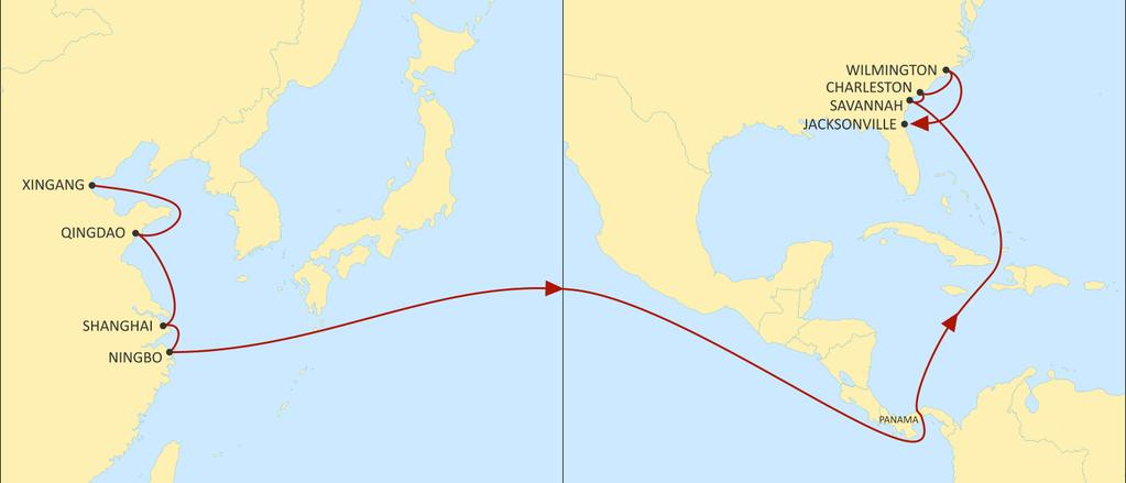 ASIA TO USA EAST COAST AMBERJACK EASTBOUND North and Central China connections to the South Atlantic seaboard through Panama.