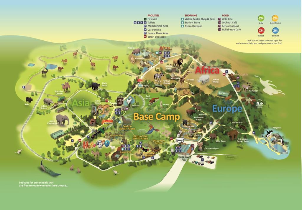 Map of ZSL Whipsnade Zoo Lookout Lodge is situated near